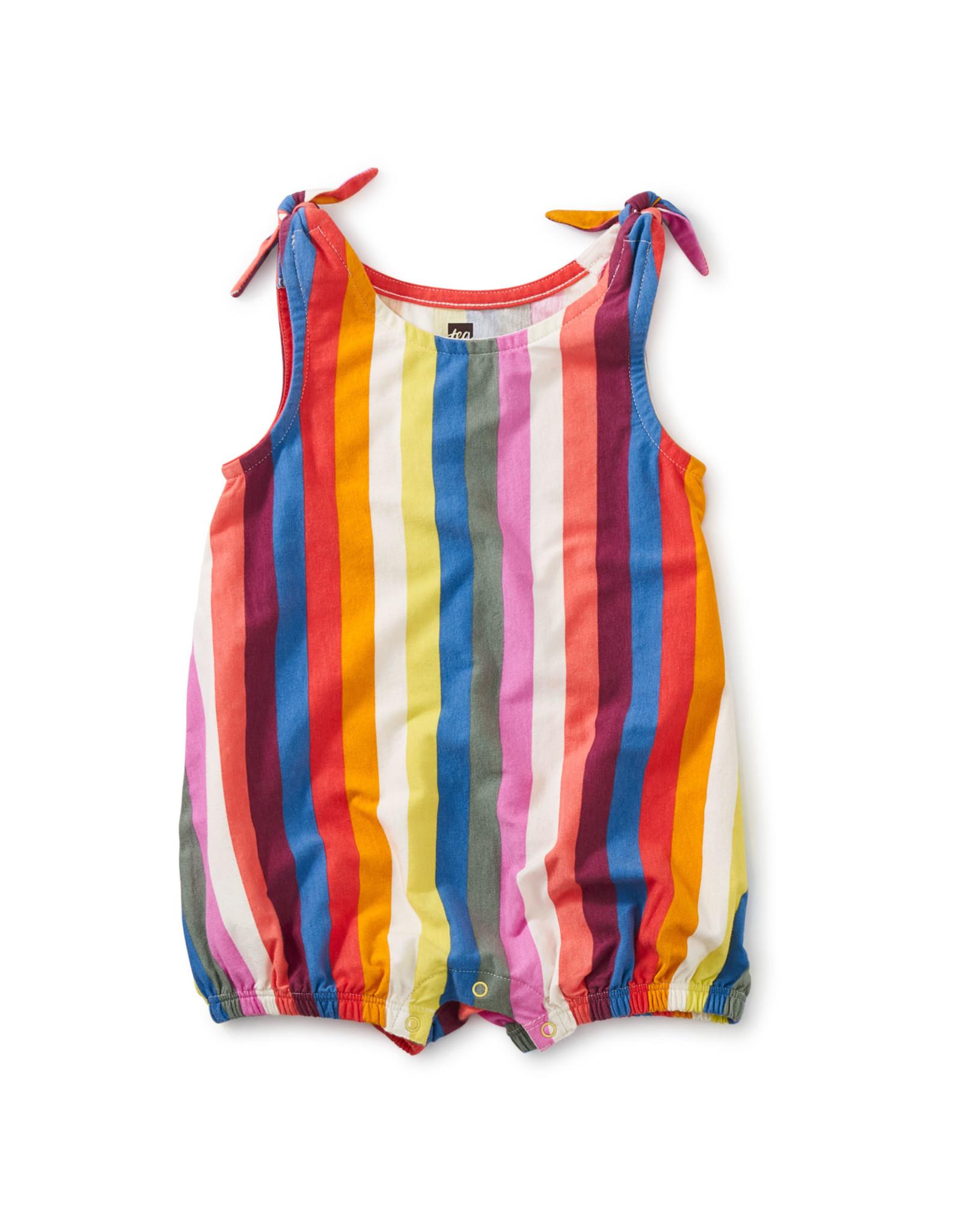 Tea Tie Shoulder Baby Romper, Vibrant Stripe