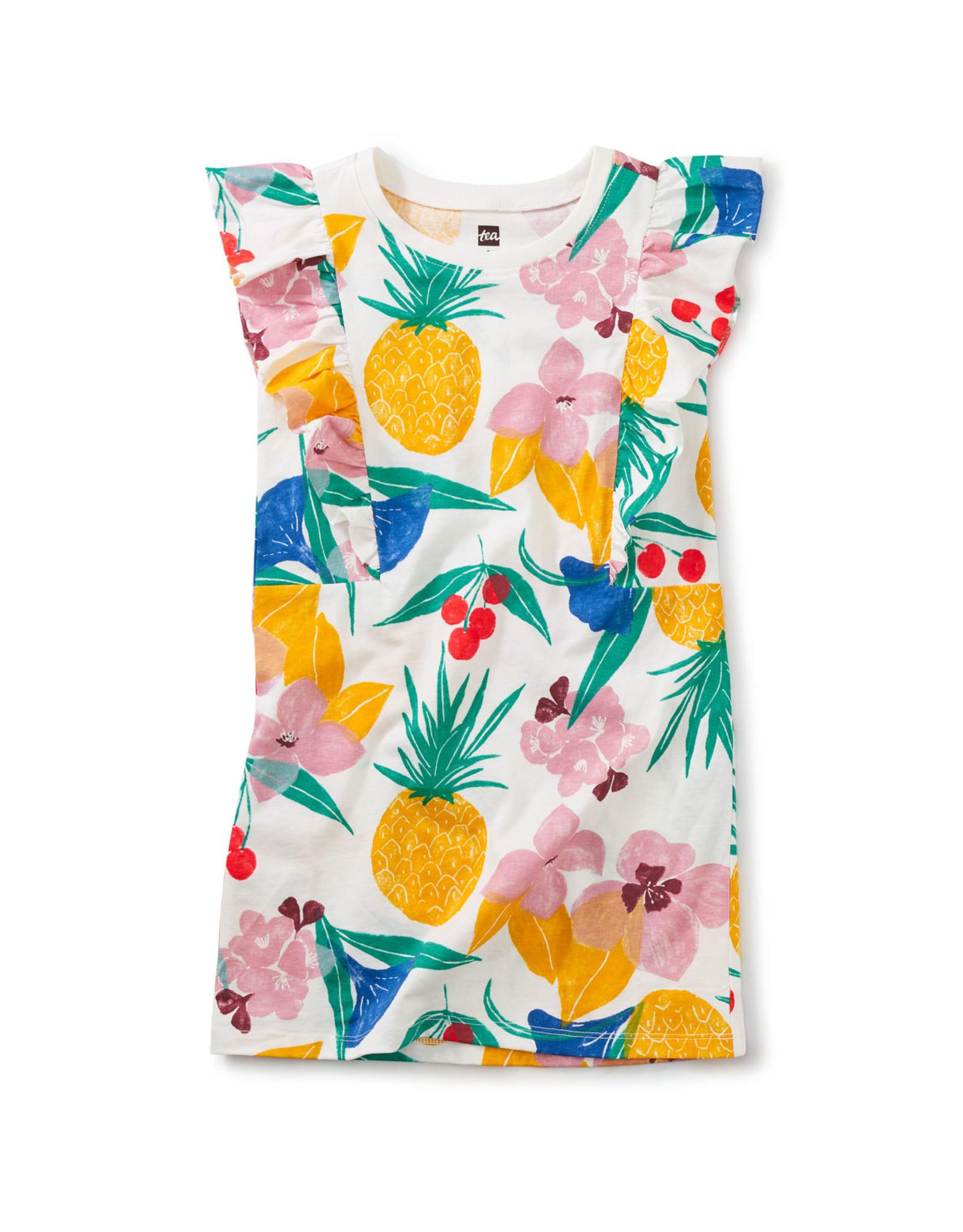Tea Short Sleeve Ruffle Dress, Fruity Floral