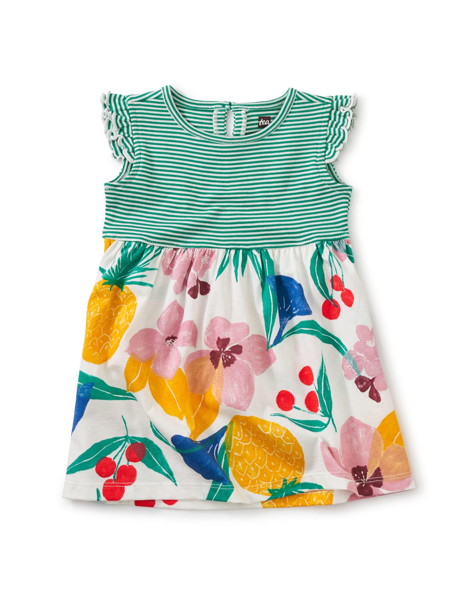 Tea Print Mix Ruffle Baby Dress, Fruity Floral