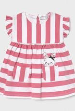 Mayoral Striped Pink Dress, Bunny in Pocket