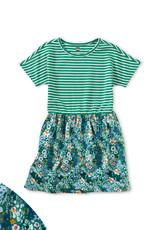 Tea Print Mix Twirl Dress, Garden Greens