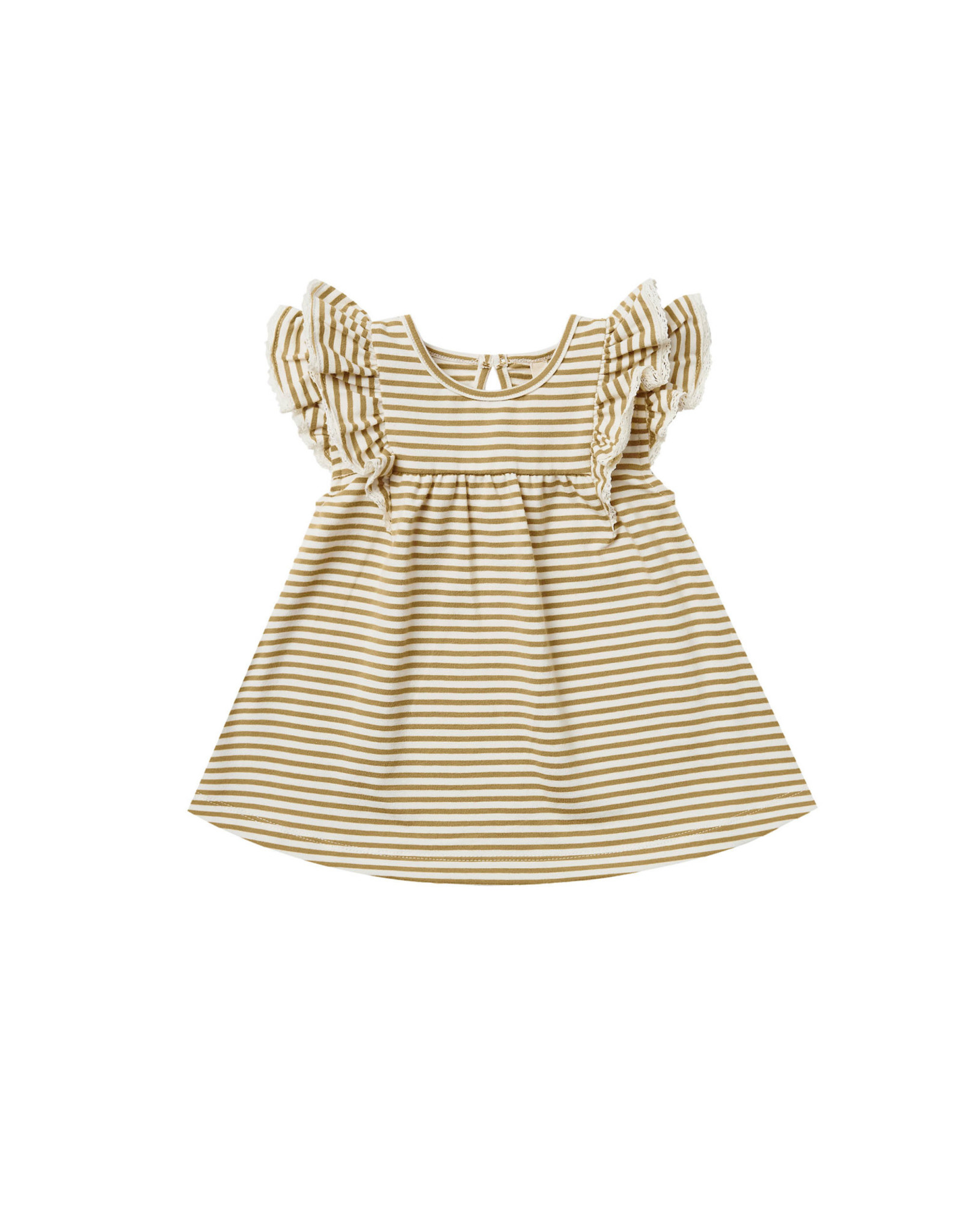 Quincy Mae Quincy Mae Flutter Dress, Gold Stripe