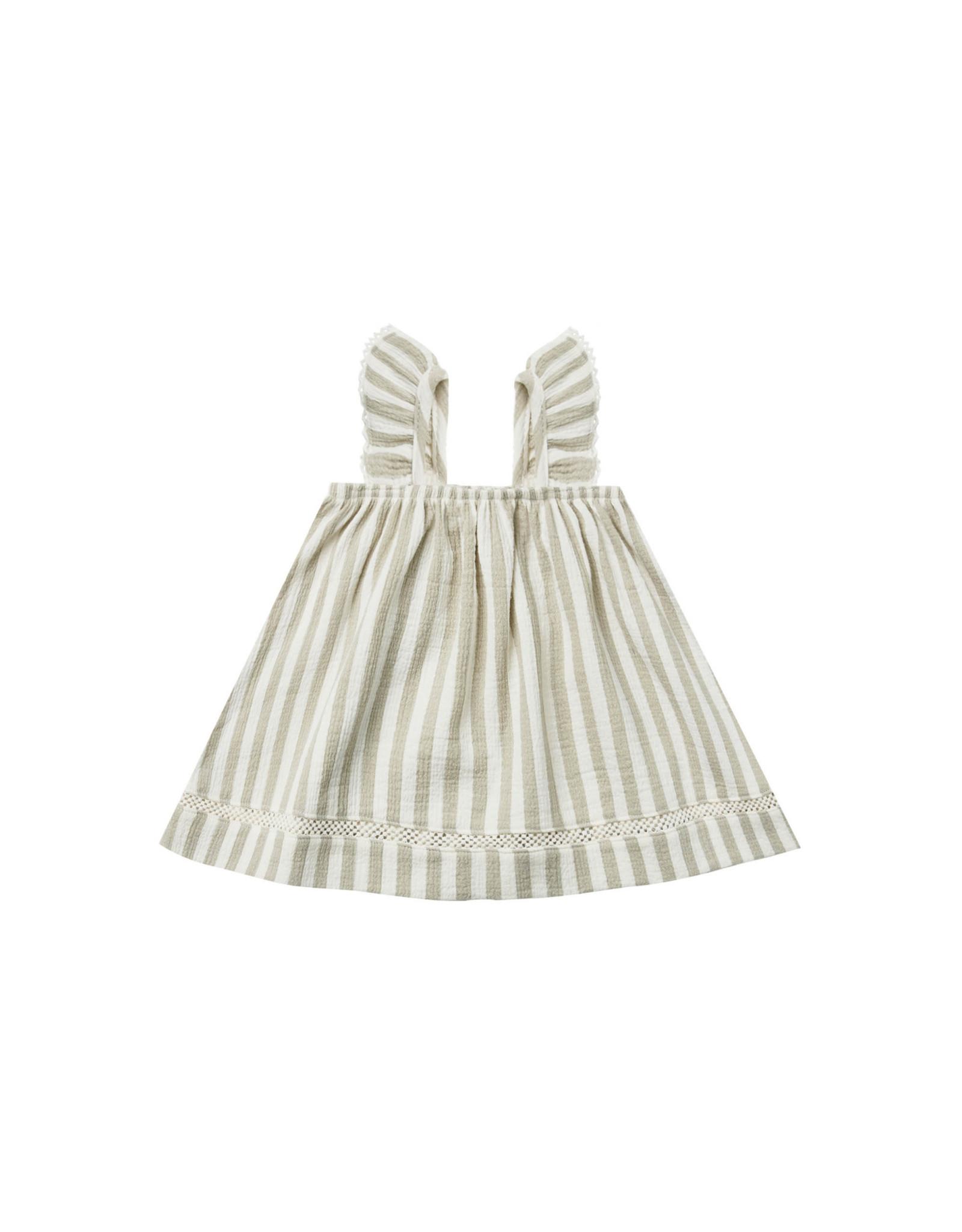 Quincy Mae Quincy Mae Woven Ruffle Tube Dress, Sage Stripe