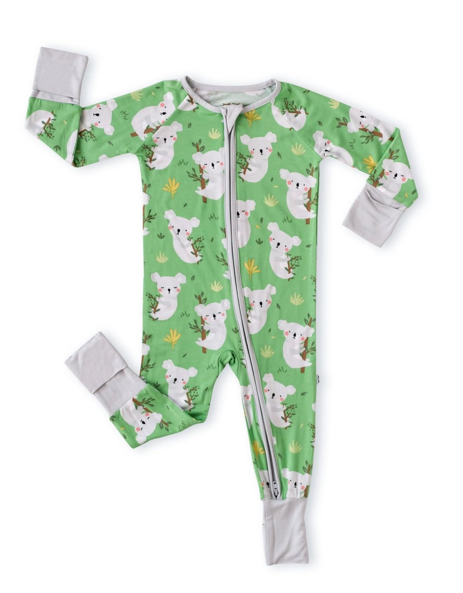 Little Sleepies Green Koalas Bamboo Zippy Convertible Romper/Sleeper