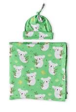 Little Sleepies Green Koalas Swaddle & Hat Gift Set