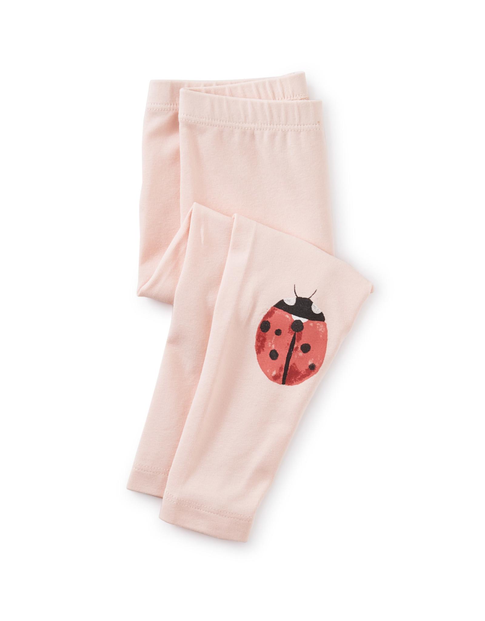 Tea Baby Leggings, Pink Salt with Ladybug Graphic