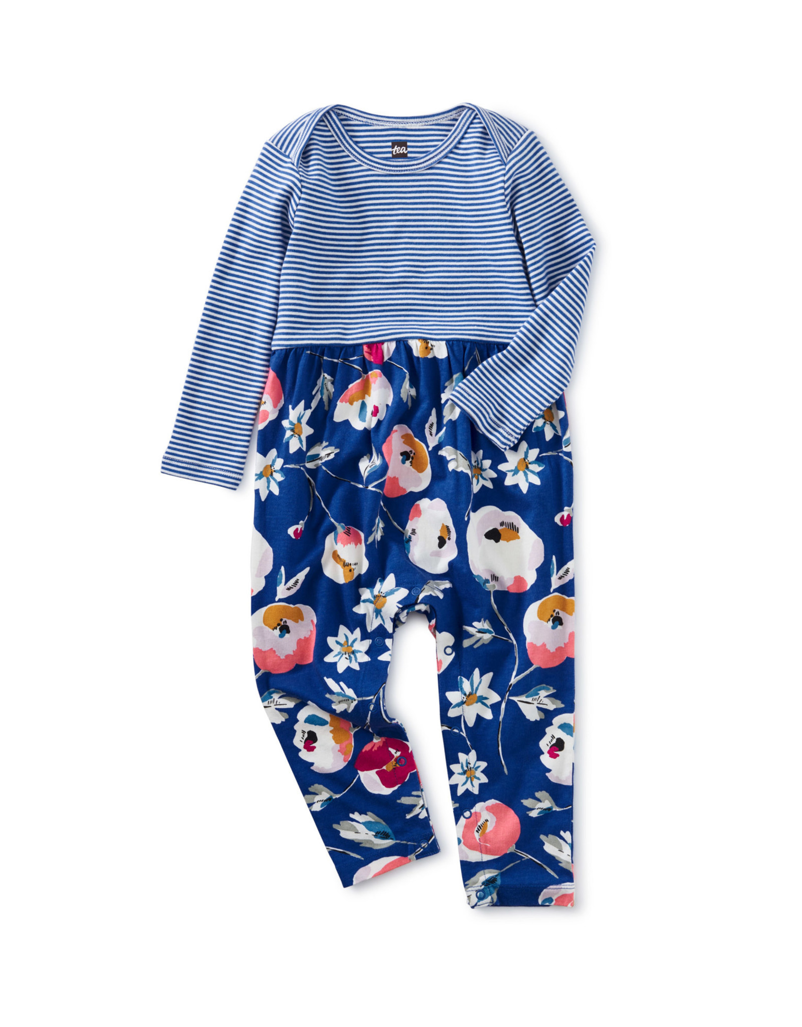 Tea Two Tone Baby Romper, Swedish Flowers in Imperial