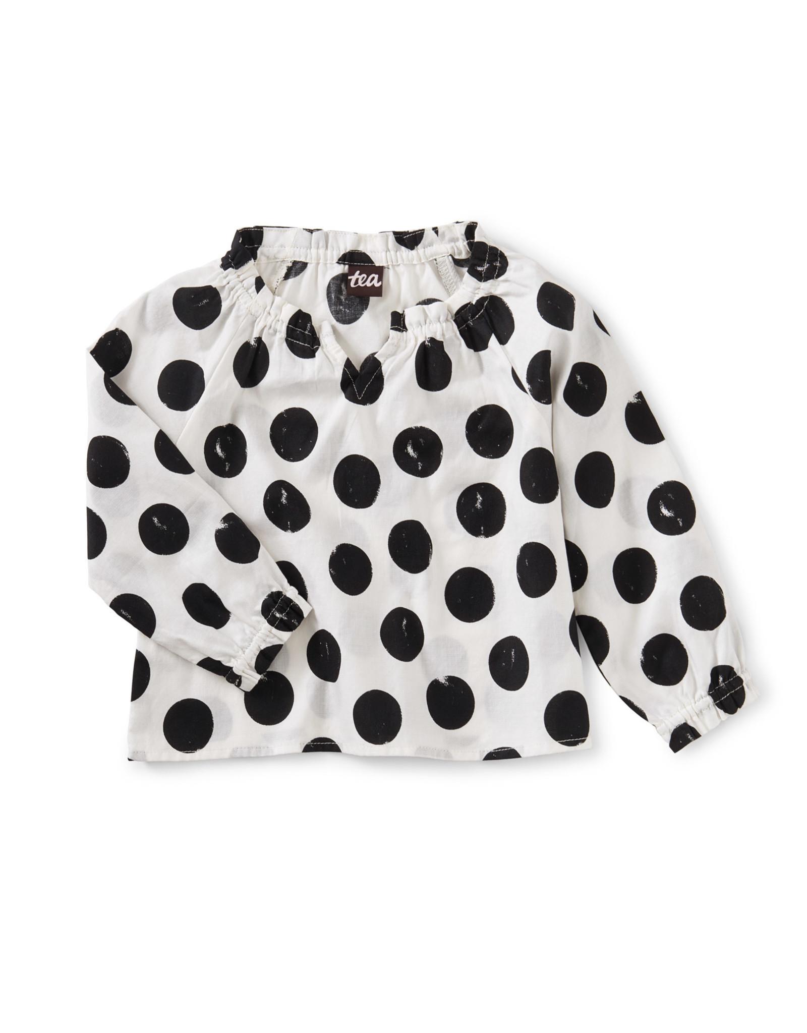 Tea Ruffle Sleeve Sweetie Top, Stamped Dots