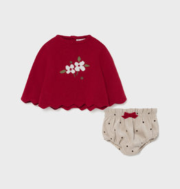 Mayoral Dress w/ Bloomers - Red/Tan