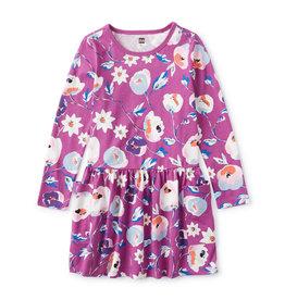 Tea Long Sleeve Pocket Dress, Swedish Floral, Purple