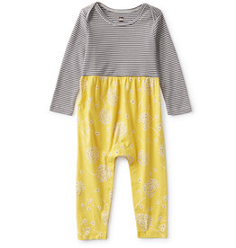 Tea Two Tone Baby Romper, Tossed (yellow floral)