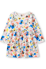 Tea Baby Long Sleeve Skirted Dress - Swedish Floral in White