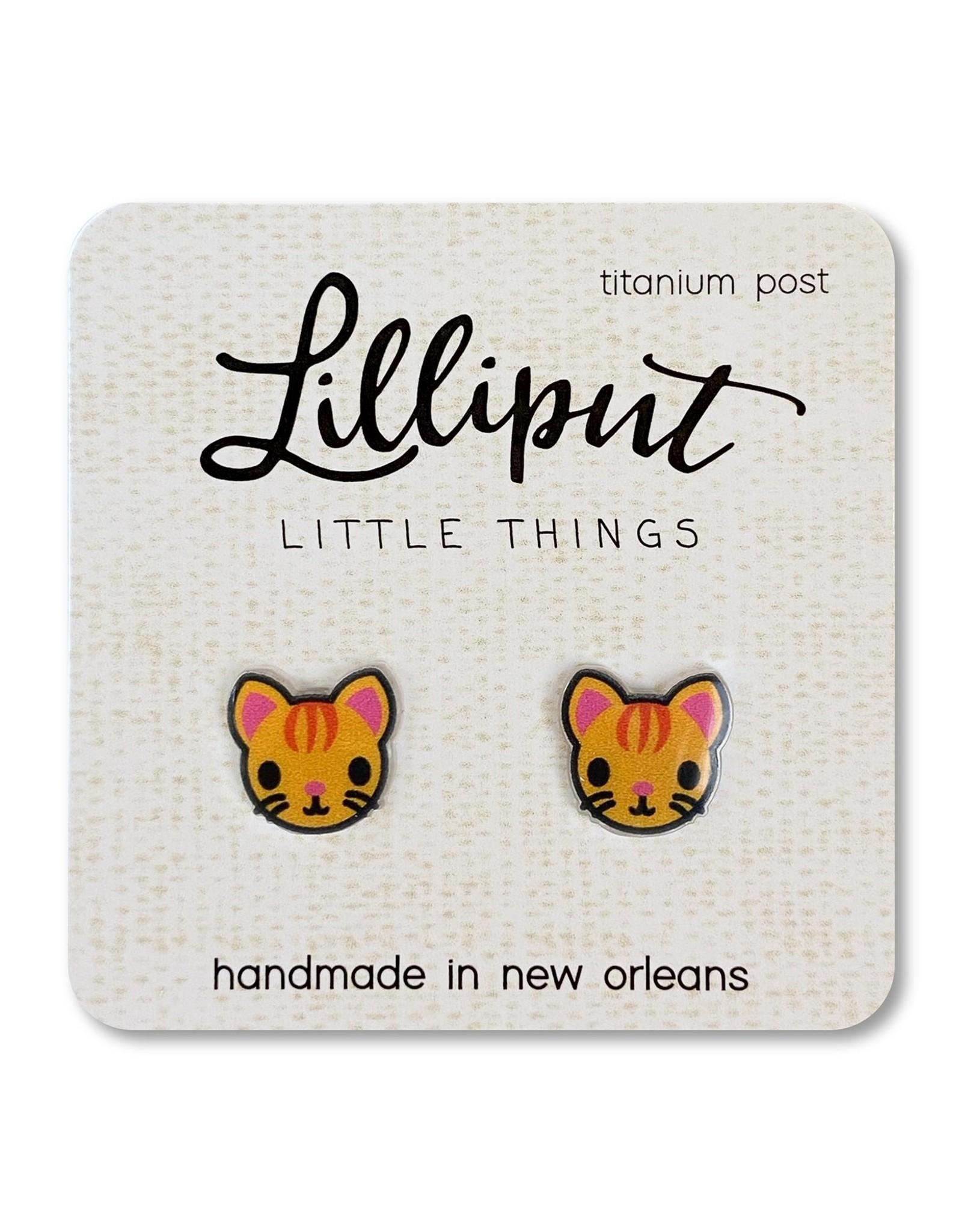 Orange Kitty Cat Earrings
