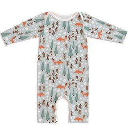 Winter Water Factory Long Sleeve Romper, Pale Blue with Foxes