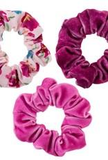 Velvet Scrunchies, Set of 3, Berry