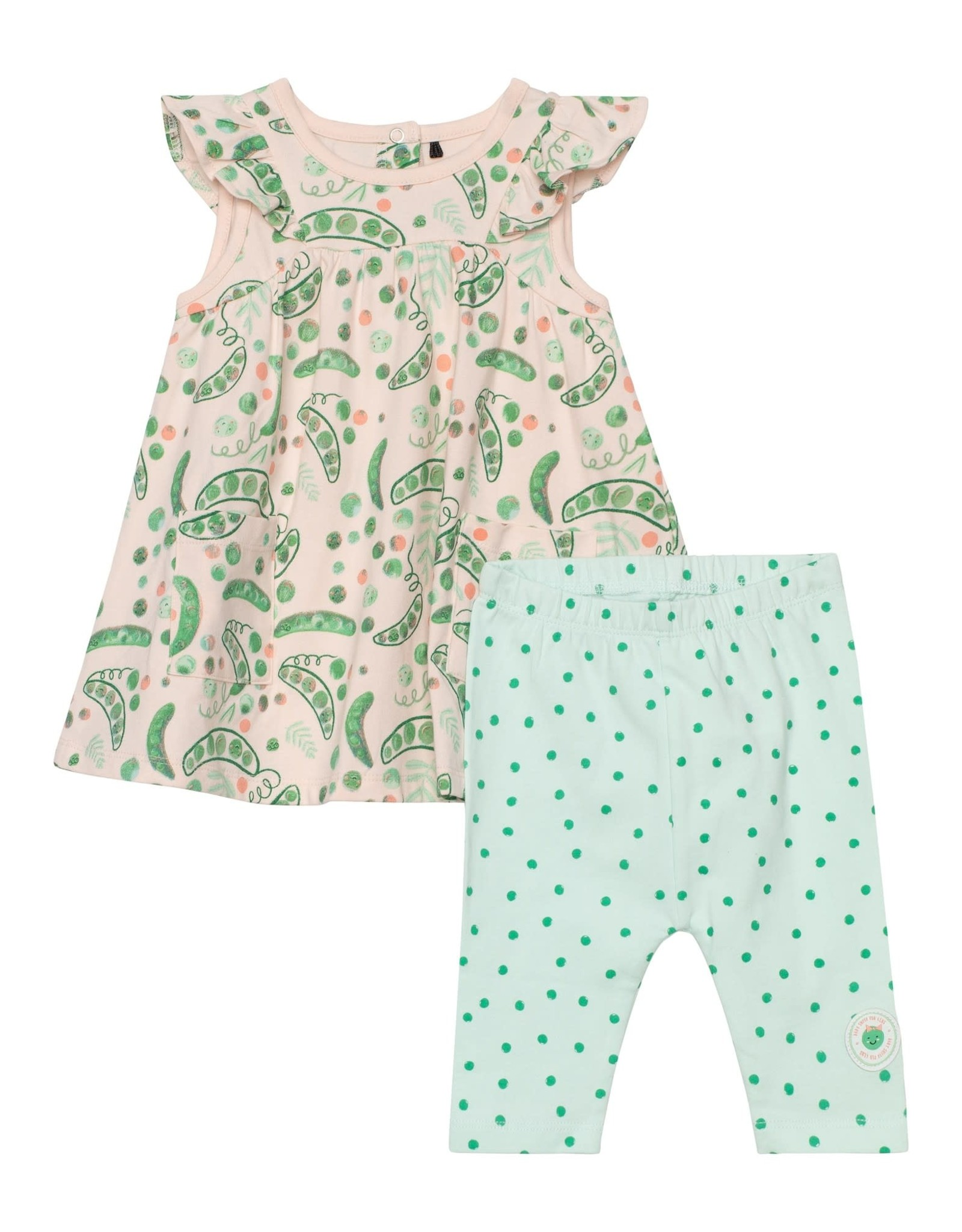 Deux par Deux Dress and Legging Set - Pea Print