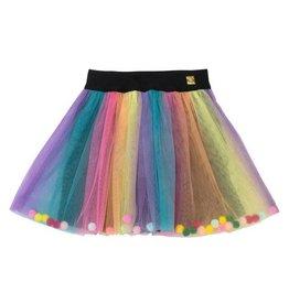 Deux Par Deux Rainbow Tulle Skirt with Pompoms