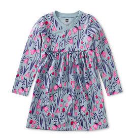 Tea Wrap Neck Dress, Scottish Snowdrops Floral
