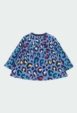 Boboli Fleece Baby Dress - Blue Leopard Print