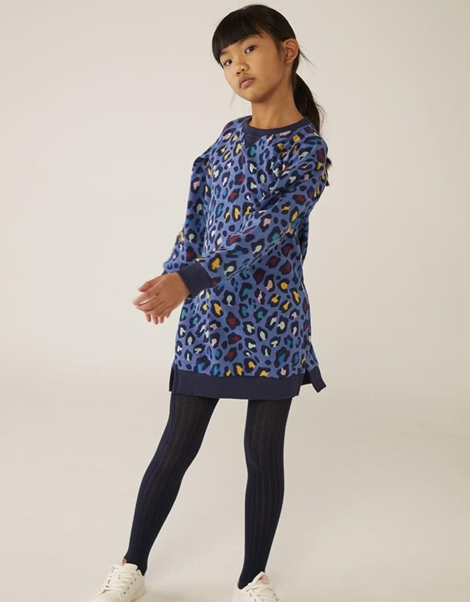 Boboli Fleece Dress - Blue Leopard Print