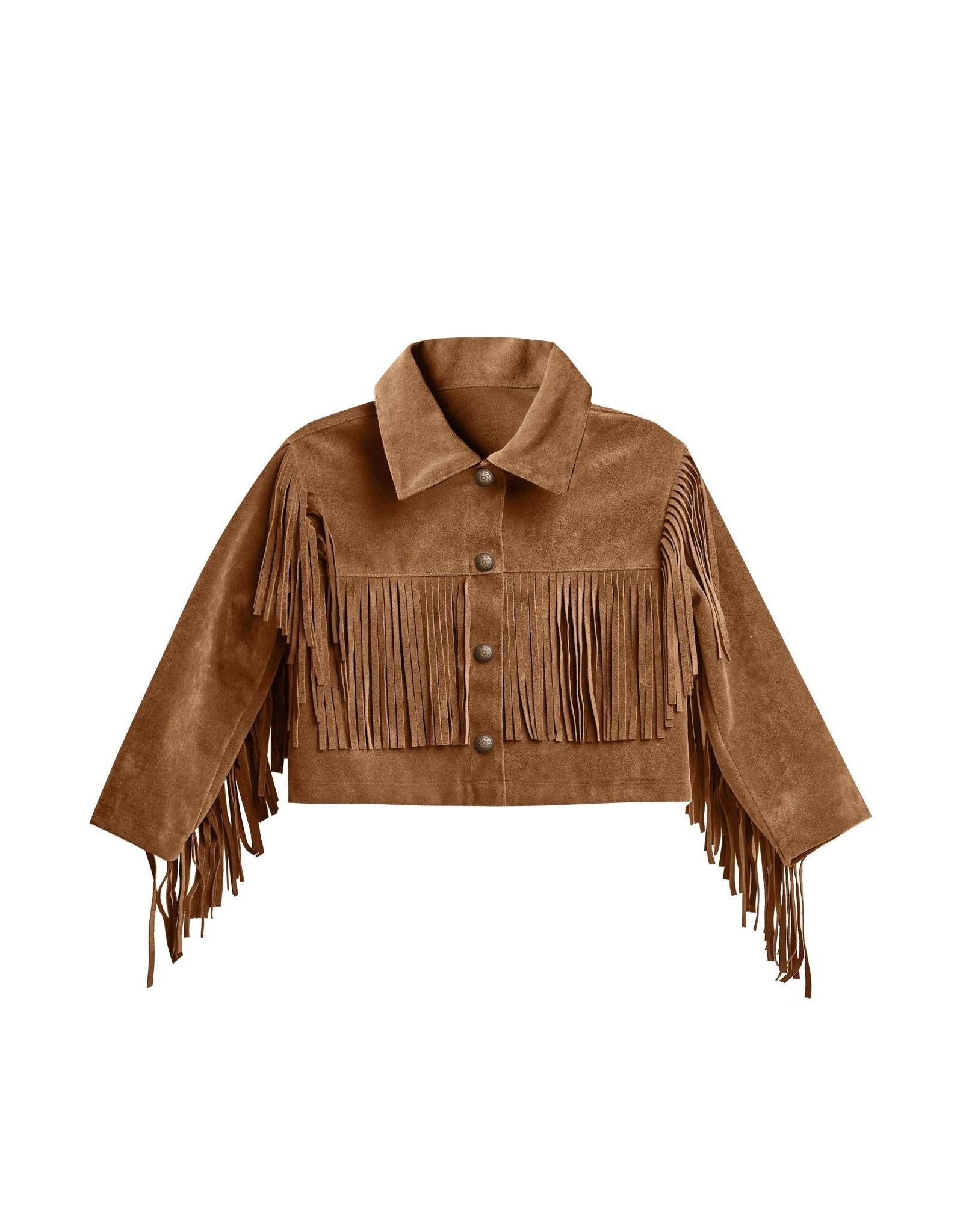Rylee + Cru Fringe Jacket, Rust