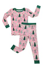Little Sleepies Pink Twinkling Trees Two-Piece Pajama Set
