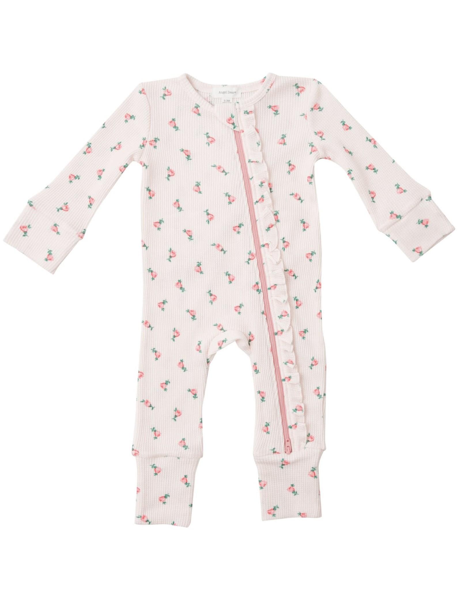 Angel Dear Rosebud 2 Way Zipper Romper, White + Pink