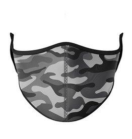 Top Trenz Fashion Face Mask, Large,  Black+ Gray Camo