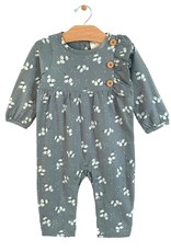 City Mouse Button Side Button Romper, Teal Puffs