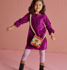 Tea Velour Bell Sleeve Dress, Cosmic Berry