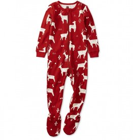 Tea Patterned Footed Pajamas Forest Deer, 12-18mo