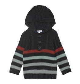 Deux Par Deux Striped Hooded Sweater