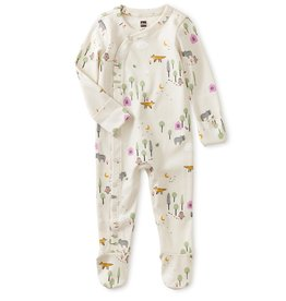 Tea Footed Baby Romper, Forest Scene