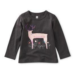 Tea Winter Deer Graphic Baby Tee