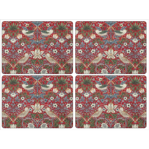 Pimpernel Placemats Morris Strawberry Thief Red Set/4 Pimpernel