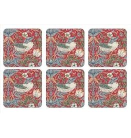 Pimpernel Coasters Strawberry Thief Red / Set of 6