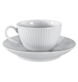 Royal Selangor Portmeirion PILLIVUYT Plisse Breakfast/Coffee Cup 10 oz. with saucer