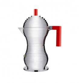 Alessi ALESSI 'PULCINA' Espresso Coffee Maker - 6 cup - Red Knob & Handle