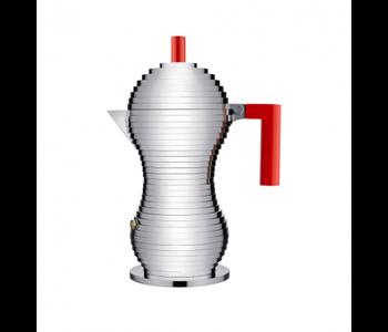 ALESSI 'PULCINA' Espresso Coffee Maker - 6 cup - Red Knob & Handle