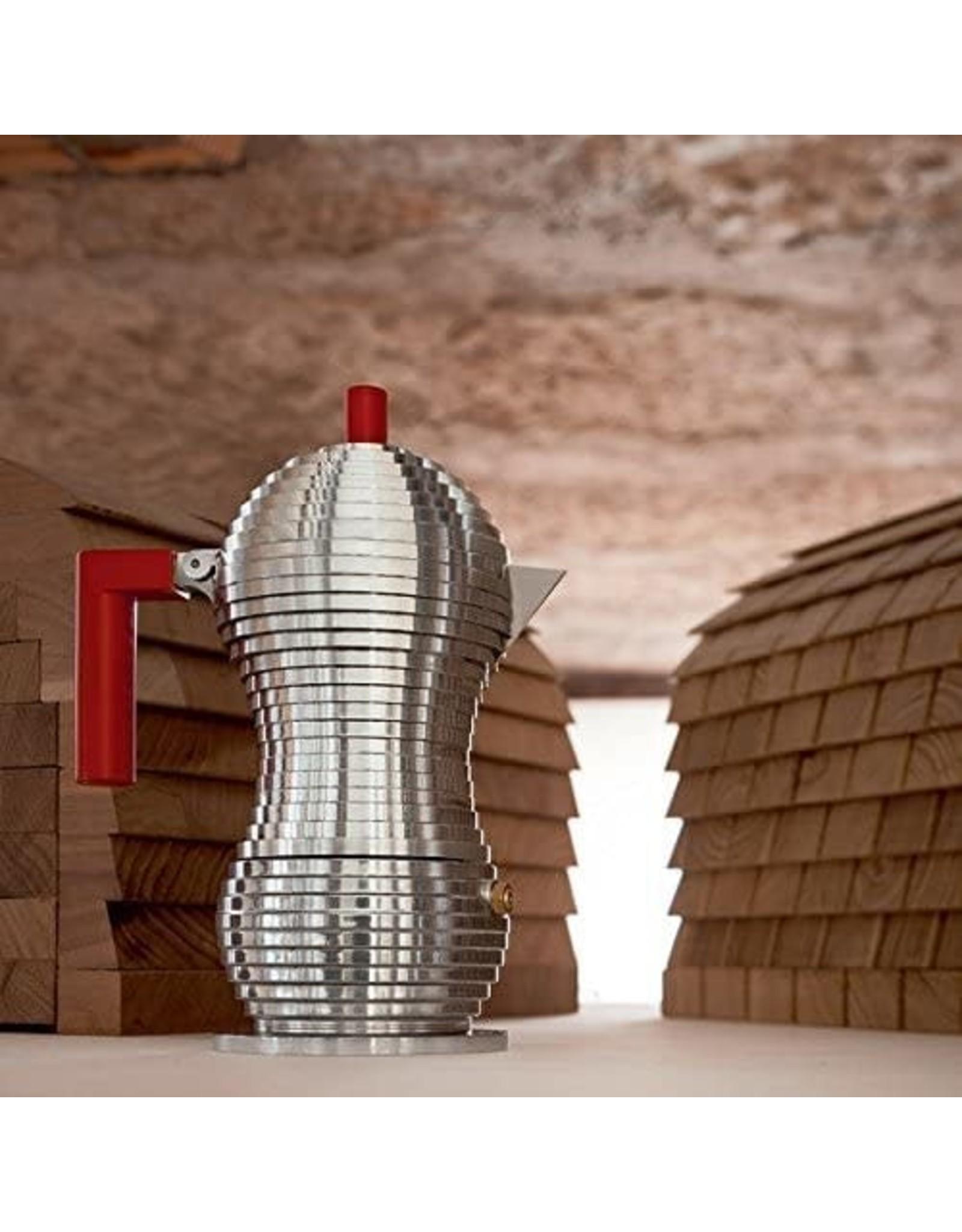 Alessi ALESSI 'PULCINA' Espresso Coffee Maker - 6 cup - Red Knob & Handle