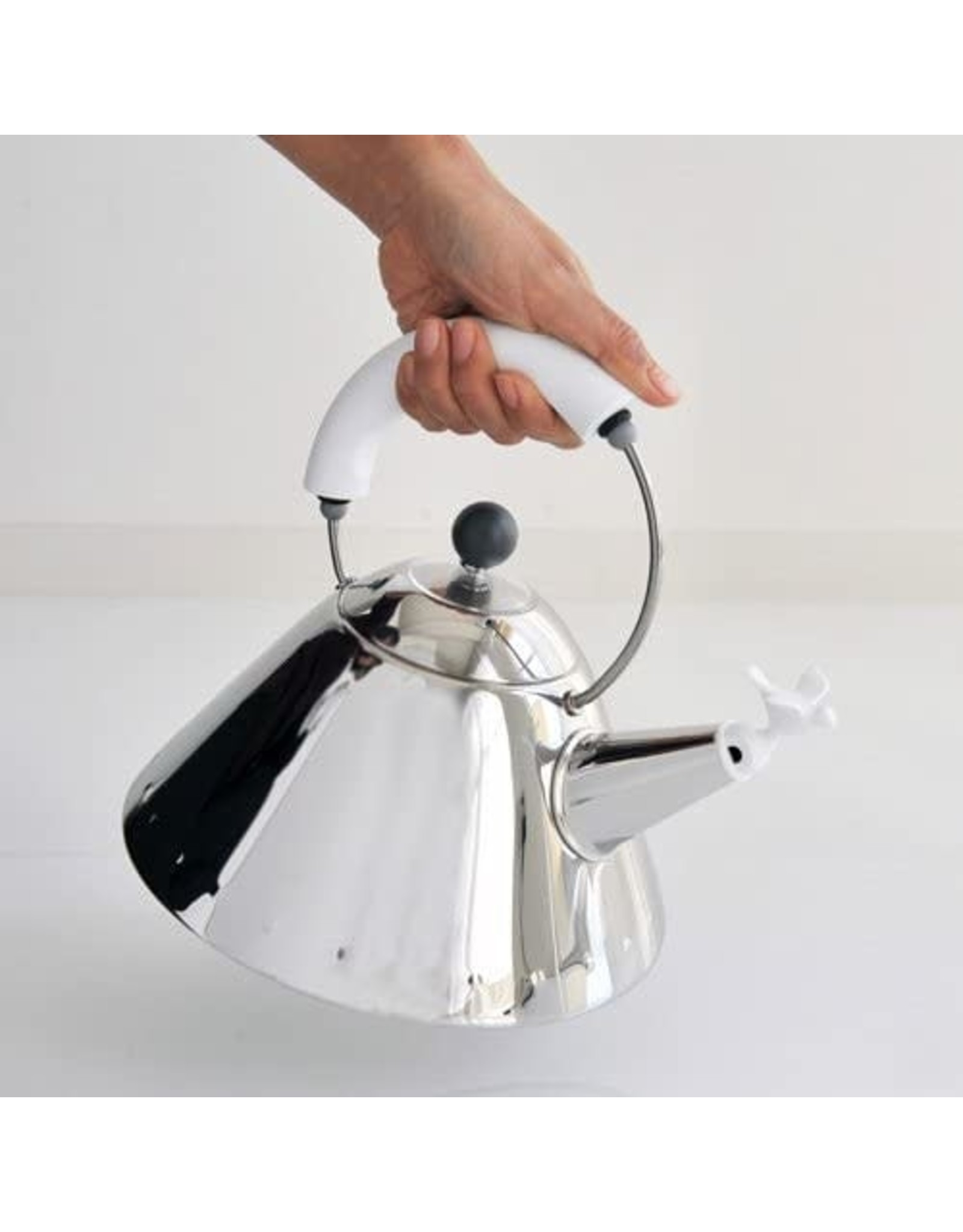 Alessi ALESSI Kettle Small Bird Shaped Whistle & White Handle