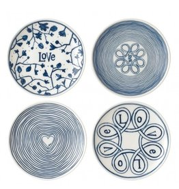 "WWRD Canada ELLEN DEGENERES Mixed Blue Love  Plate 6"" - Set/4"