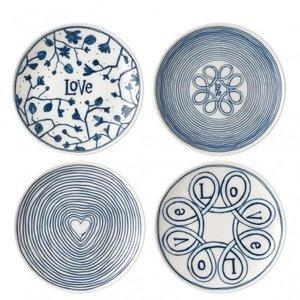"Royal Doulton ELLEN DEGENERES Mixed Blue Love  Plate 6"" - Set/4"