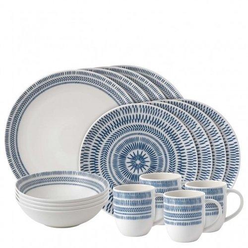 Royal Doulton ELLEN DEGENERES Cobalt Blue Chevron 16 piece set
