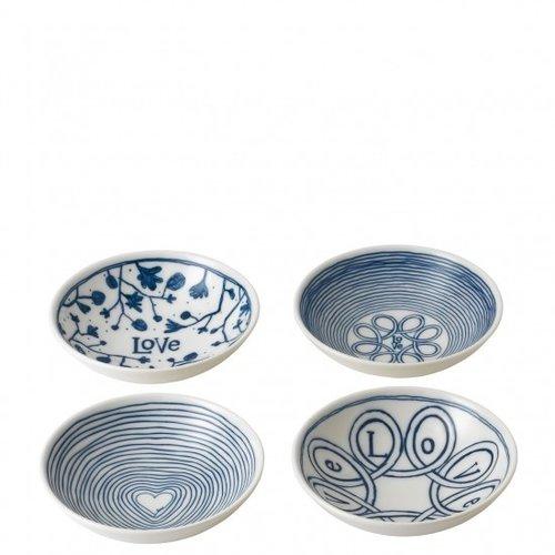 """Royal Doulton ELLEN DEGENERES Mixed Blue Love Bowl 5.5"""" set/4"""