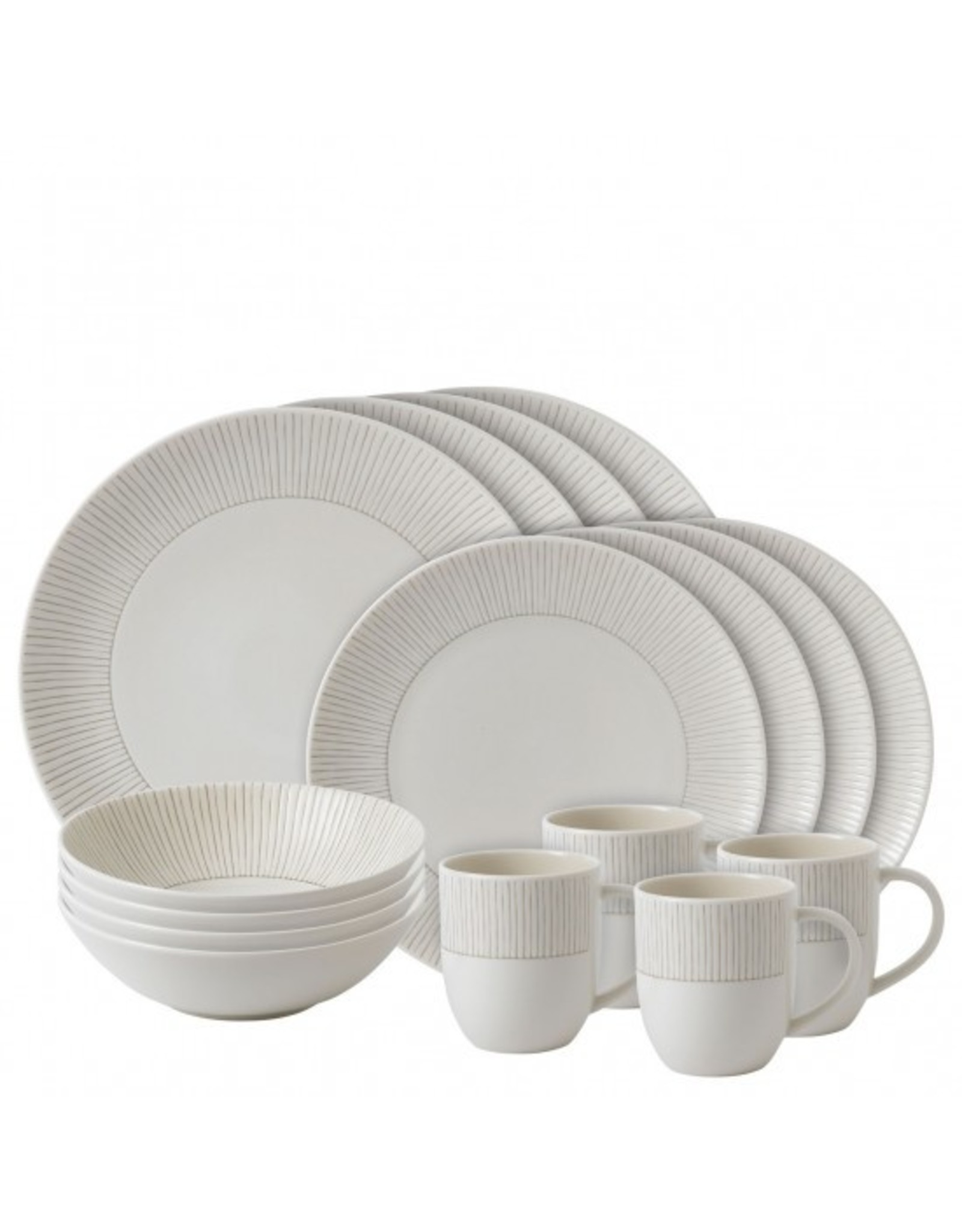 Royal Doulton ELLEN DEGENERES Taupe Stripe 16 piece set