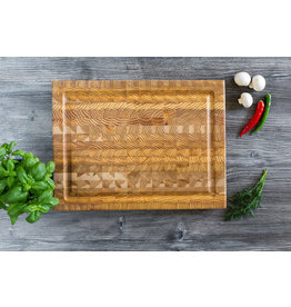 LARCH WOOD LARCH WOOD CUTTING BOARD - MEDIUM WITH GROOVE