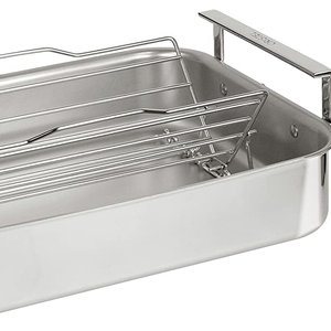 Cristel USA Inc. CRISTEL Roaster 3 Ply 16.9 x 13 inches with rack and thermometer