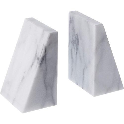 Fox Run Marble Triangle Bookends White