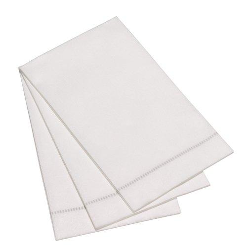 David Shaw Tableware Guest Towel Hemstitch-Silver Grey
